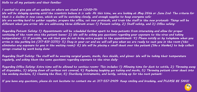 Coronavirus Message